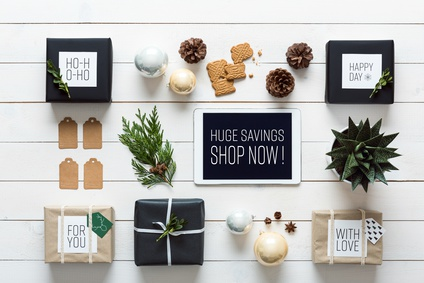 Elegant nordic retro christmas, wrapping station, desk view from above, online shopping concept